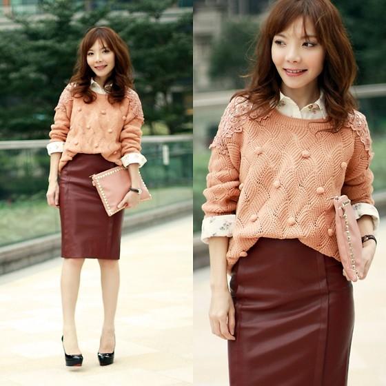 Prisca E_коричневая кожаная юбка