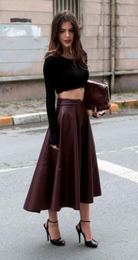 кожаная юбка+кроп-топ