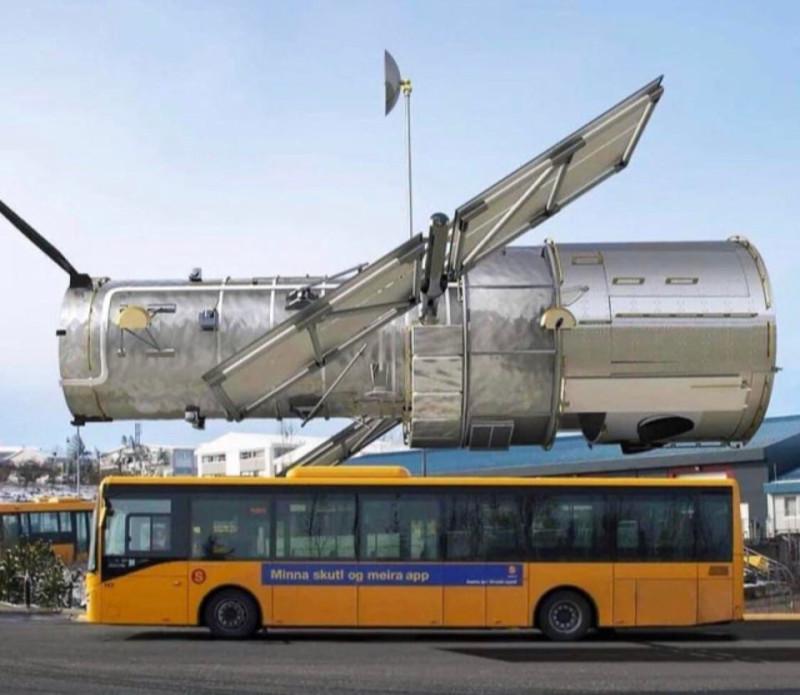Космический телескоп Хаббл по сравнению с автобусом