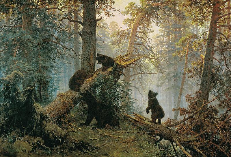 Утро в сосновом лесу, Шишкин, 1889