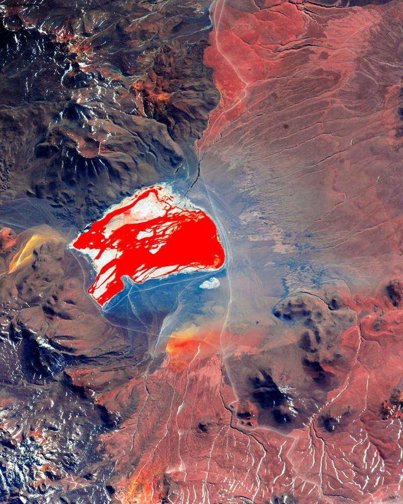 Озеро Лагуна-Колорадо. Мелкое соленое озеро, также известное как красная лагуна, расположено в юго-западной части Боливии. Удивительный красный цвет воды обусловлен осадочными породами, а также пигментацией некоторых произрастающих там водорослей. Фото космонавта Сергея Рязанского.