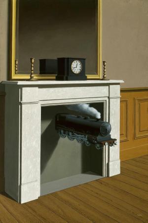 Картина «Пронзённое время» Р. Магритта