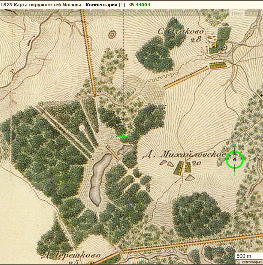 1823 карта окружностей Москвы