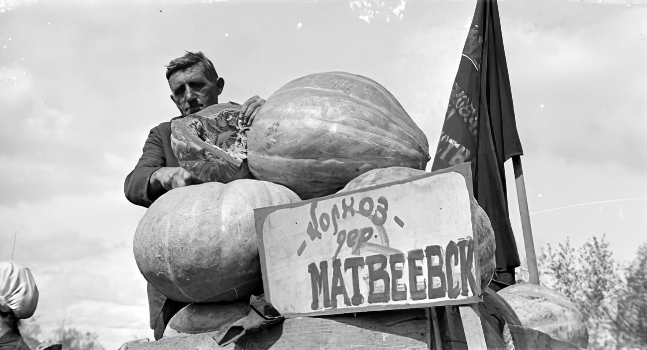1932 Колхозник колхоза деревни Матвеевская Кунцевского района торгует на ярмарке колхозными тыквами-гигантами. РГАКФД