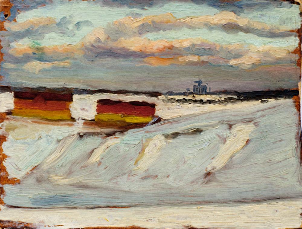 Очаково зима 1952 года. Вдали строится МГУ. Картон. Масло