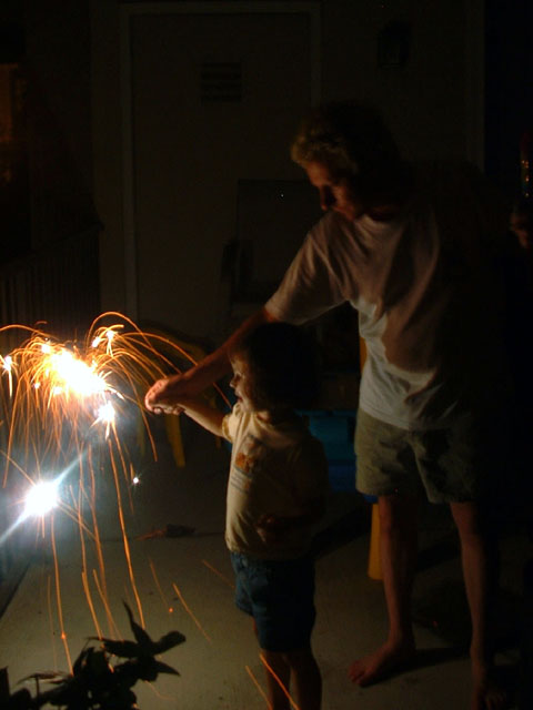 Laurel and Vogon with sparklers