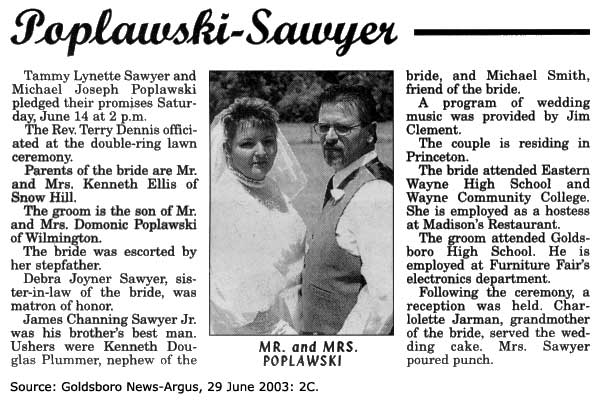 Poplawski-Sawyer wedding announcement