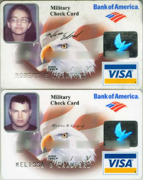 Two Bank of America Military Bank debit cards with the photos on the opposite card of the ones they should be on