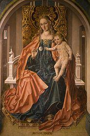 Tabla central del tríptico de La Virgen de la Rosa, Salamanca, Museo Catedralicio.