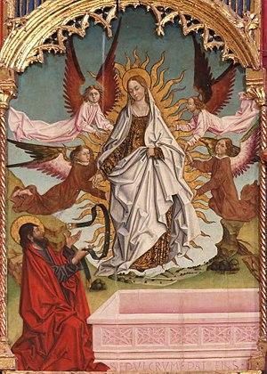 Asunción de la Virgen y entrega del cíngulo al apóstol santo Tomás, retablo mayor de la iglesia de Santa María, Trujillo (Cáceres).