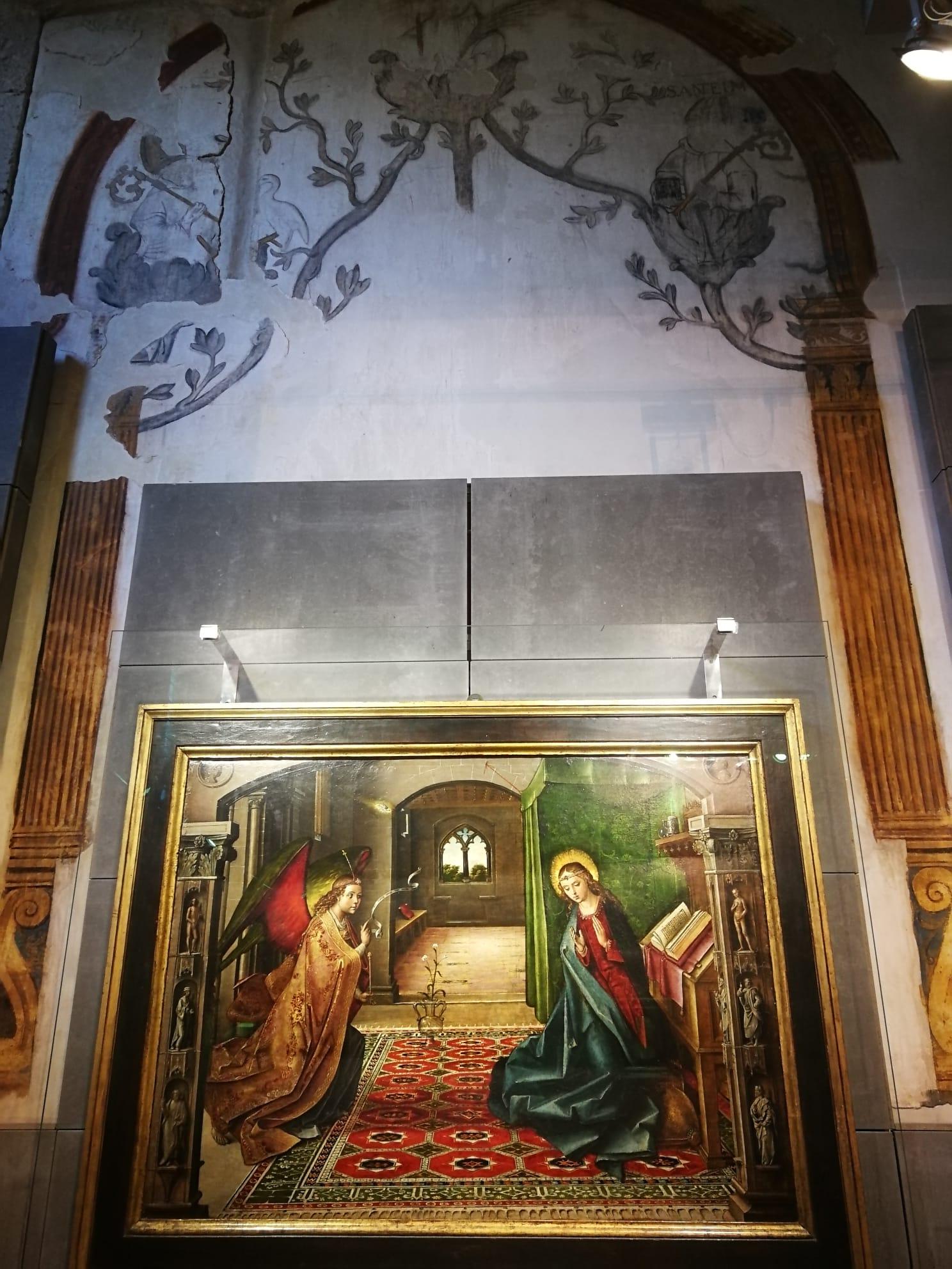 Педро Берругете, 1453.  «Благовещение» для картезианского монастыря Мирафлорес