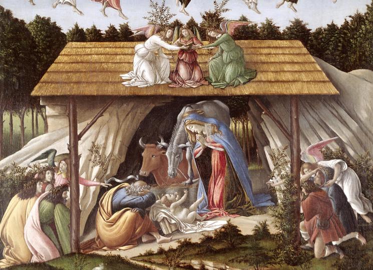 """Сандро  Боттичелли  (1445-1510) """"Мистическое Рождество"""" 1501. Холст, темпера. 108,5 x 75. Национальная галерея, Лондон"""