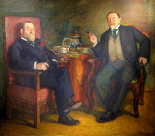 O.S._Tseytlin_with_D.V._Vysotsky_at_coffee_by_Leonid_Pasternak_(1913,_Kursk_gallery)