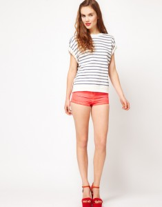 ASOS High Waisted Denim Shorts In Ombre Finish