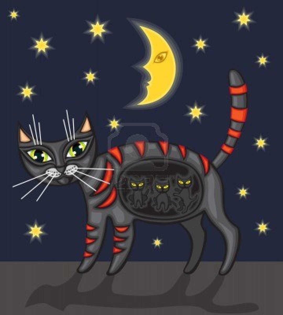 12959387-black-pregnant-cat-is-under-the-starry-sky