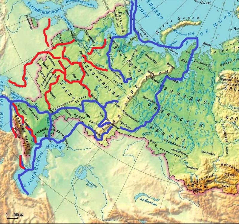 Основные водные пути Восточной Европы и Западной Сибири