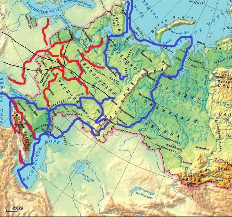 Первые железные дороги России (чёрным цветом)