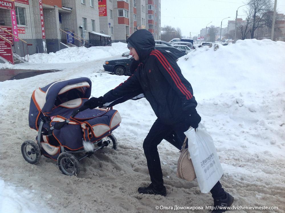 Зимняя дорога на коляске в Вологде (2)