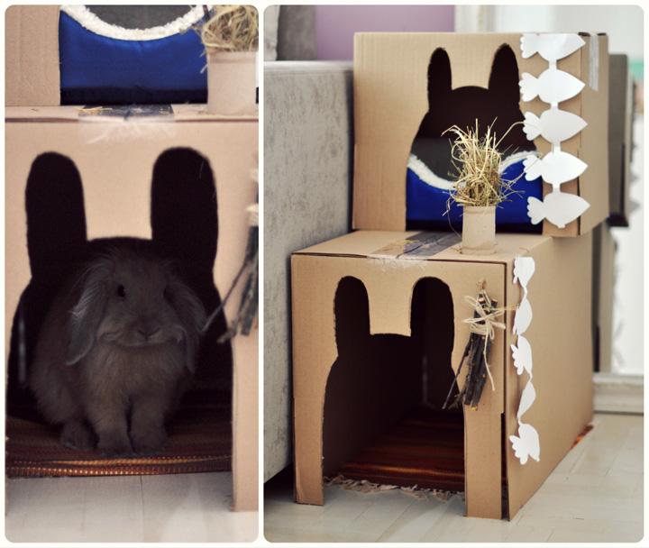 Как сделать домик из коробки для кроликов своими руками 91