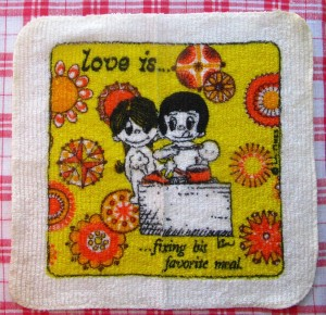Vintage Washcloth Kim Casali LA Times Love is Fixing His Favorite Meal 1970s