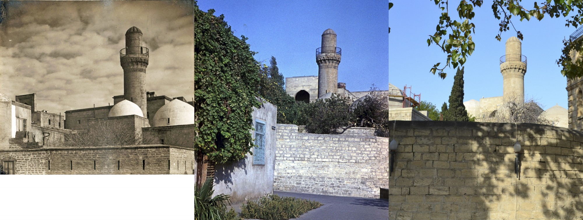 Баку. Дворец Ширваншахов. Минарет Шахской мечети 1912-1968-2015