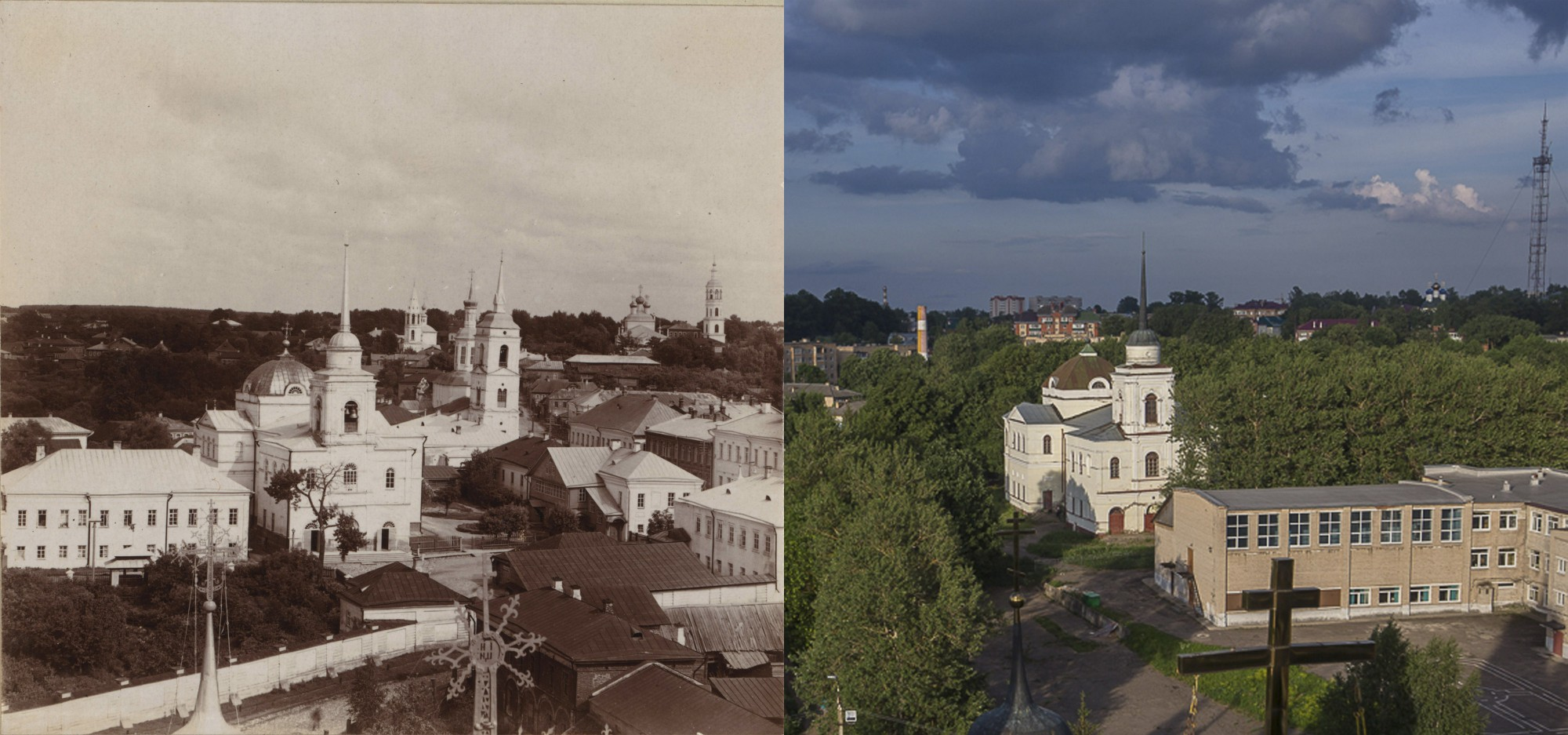Вязьма. Общий вид города с сев.-запада 1912-2019