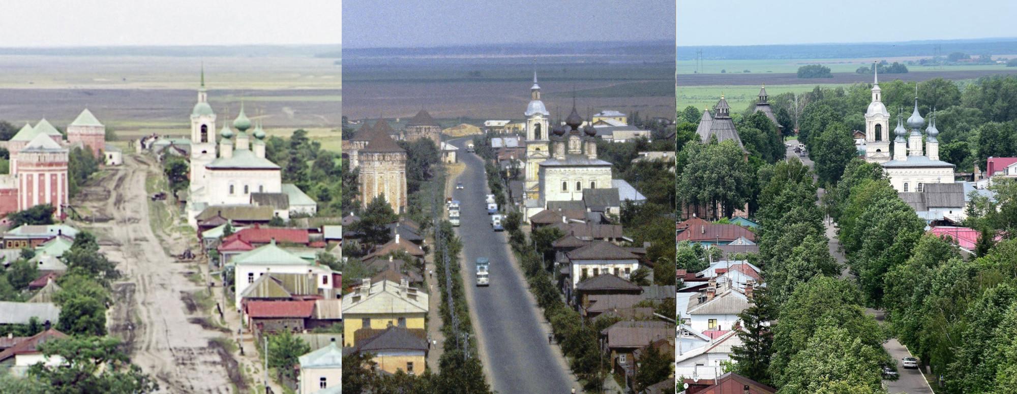 Суздаль. Вид на Смоленскую церковь 1912-1967-2016 гг