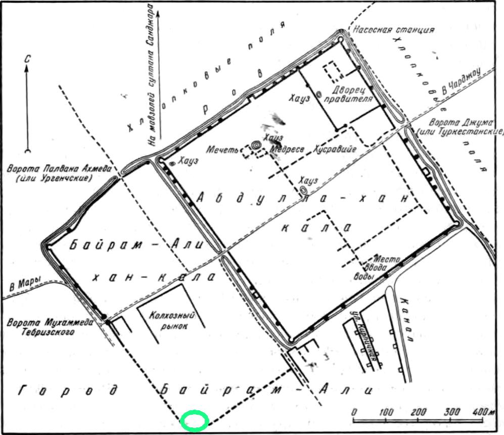 Карта крепости Байрамалихан-калы2