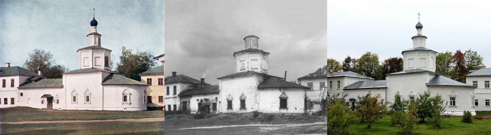 Успенская церковь в Макариево-Унженском монастыре, построенная на месте кельи, в которой по преданию жил царь Михаил Феодорович в 1612 г. 1910-1959-2019