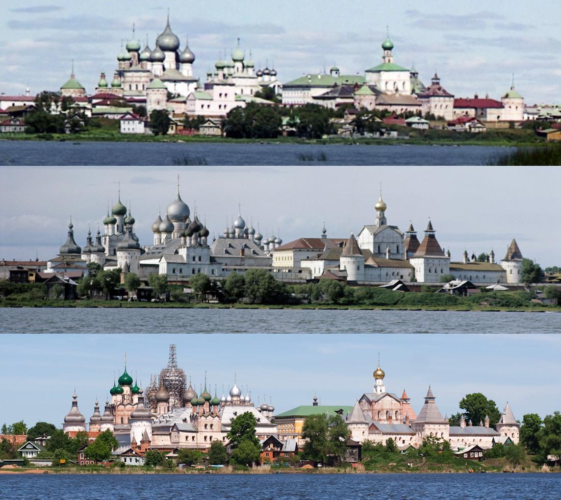 Вид Ростовского кремля с озера Неро 1911-1969-2009