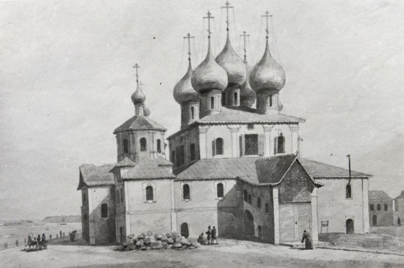 1838 Григорий и Никанор Чернецовы. Преображенская соборная церковь в Рыбинске. Акварель