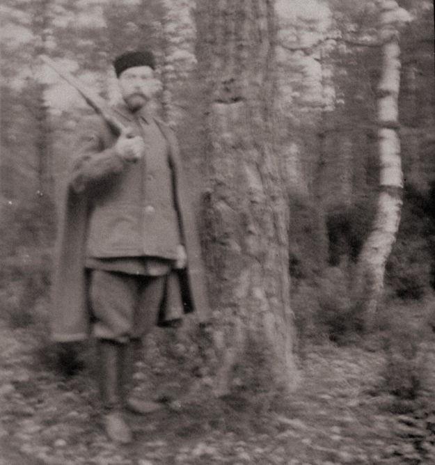 Император Николай II с ружьем. Скерневицы. Альбом семьи Романовых, фото 296, 1899-1900