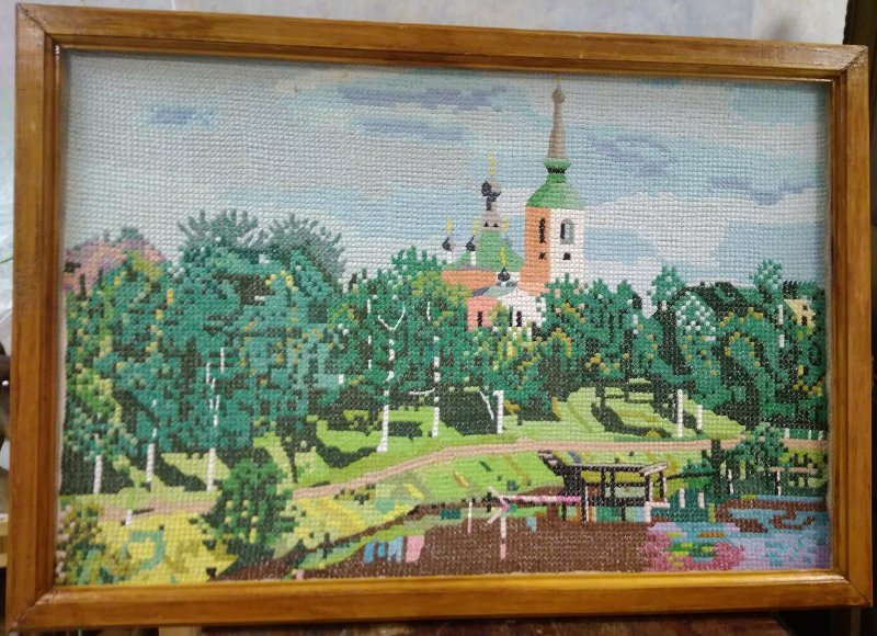 Картина Воскресенский собор, г. Вытегра, вышитая крестом. Никитинский Василий Максимович