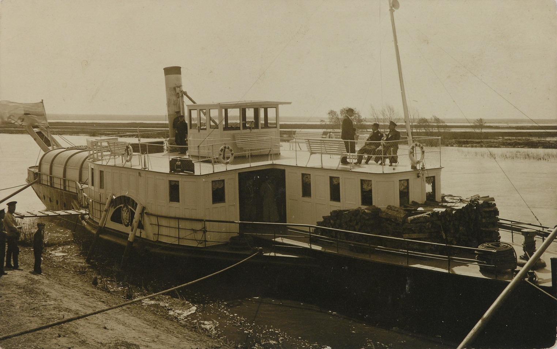 1914 Открытка с видом Кургана. Разлив Тобола. пароход Тюмень