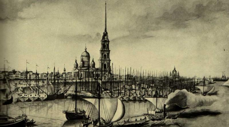 1850 Рыбинская пристань на Волге. Гравюра с оригинала В. Белоногова