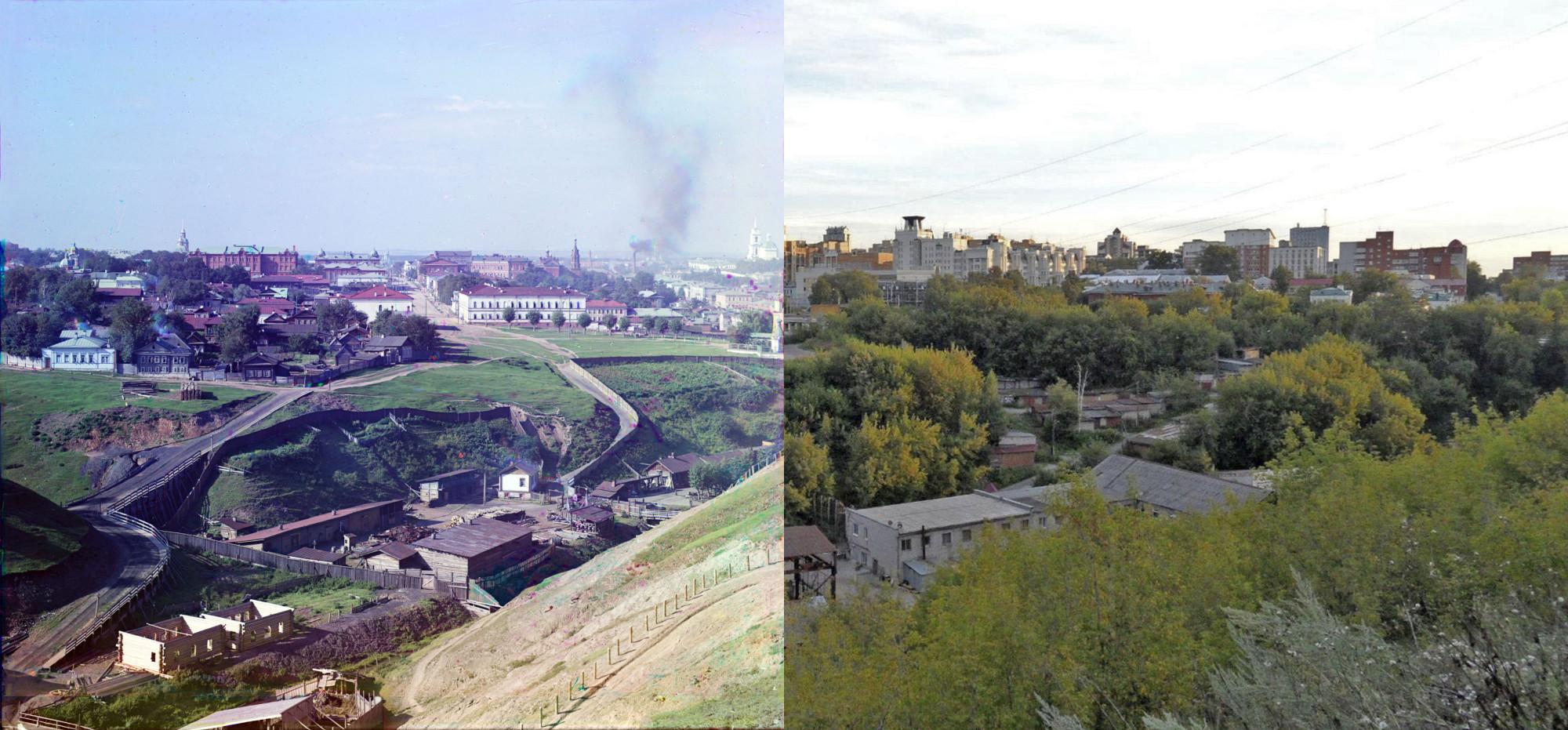 Пермь. Егошихинский лог в 1909 г. и 103 года спустя