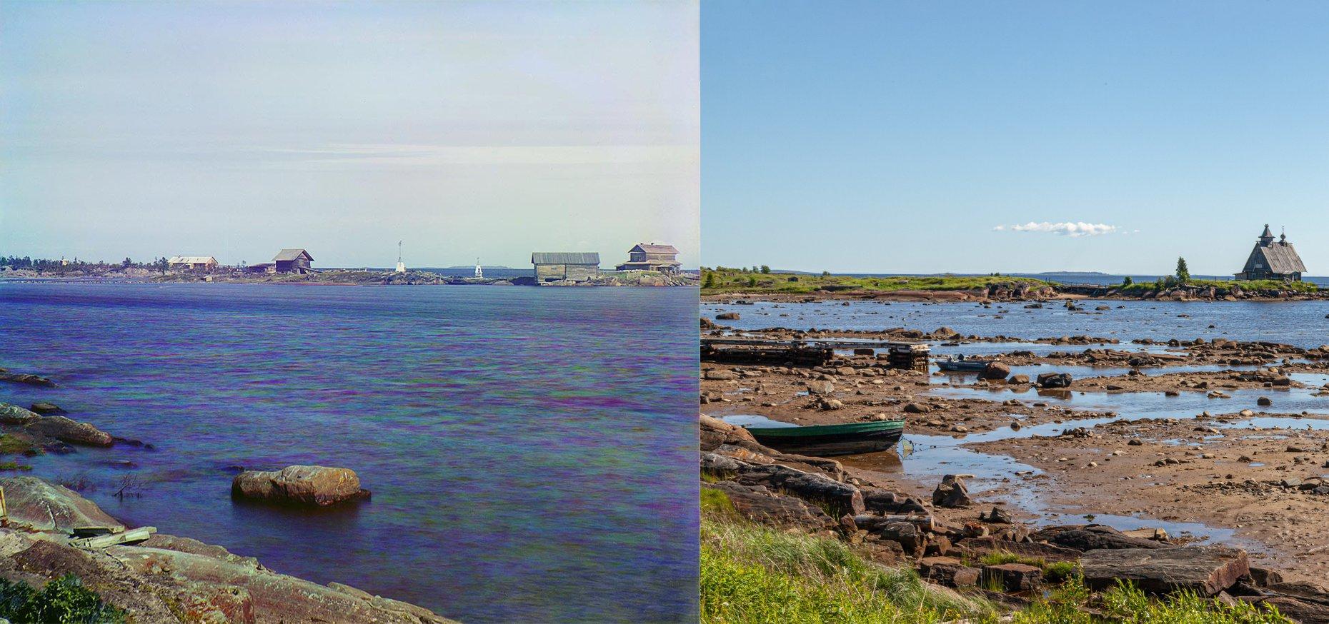 Вид на остров с берега. Вид на Монастырскую луду на острове Попов. 1916-2012 Георгий Башкин