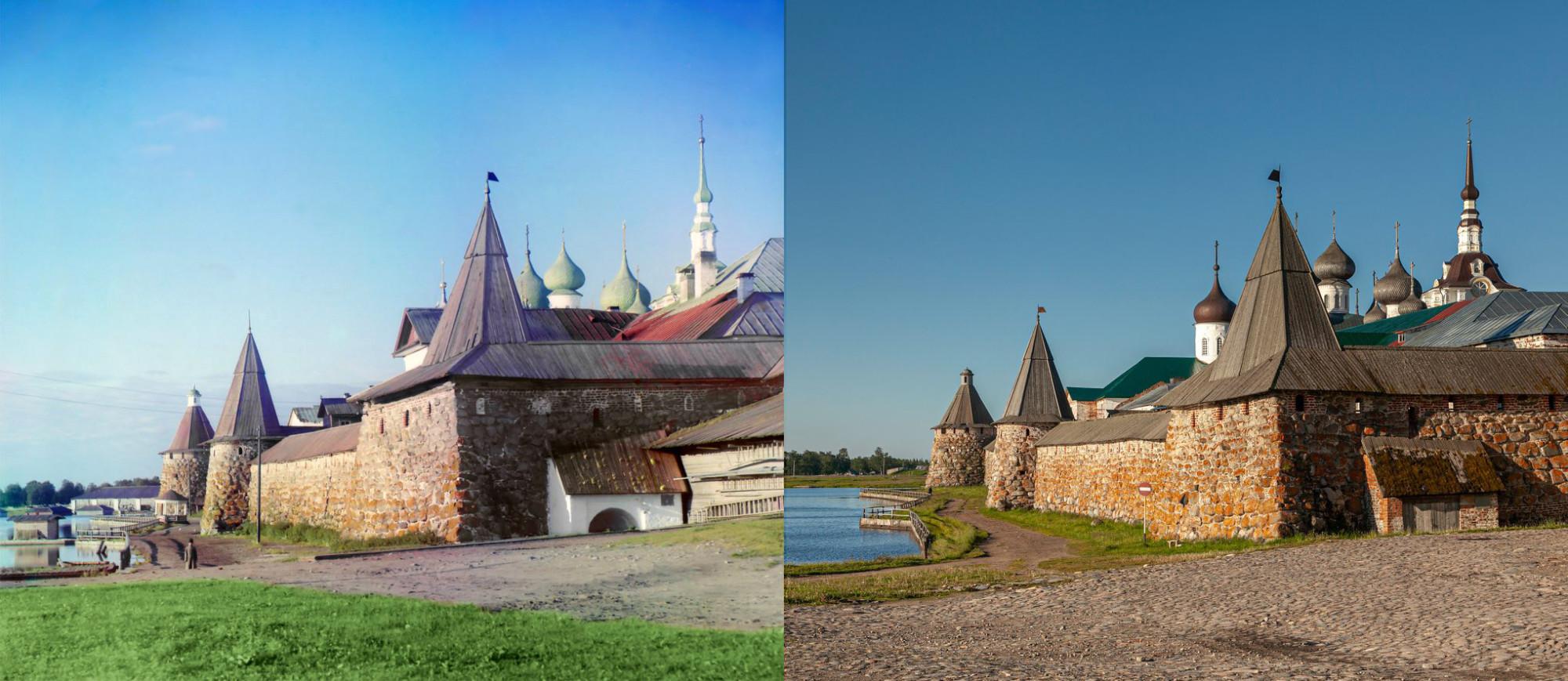 Вид на восточную стену монастыря, слева - Святое озеро.1916-2012. Георгий Башкин2