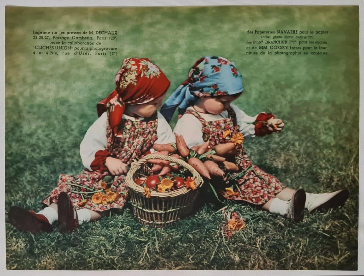 1934 Les jumelles Gorsky freres. Estampe en couleur Enfance Gastronomie