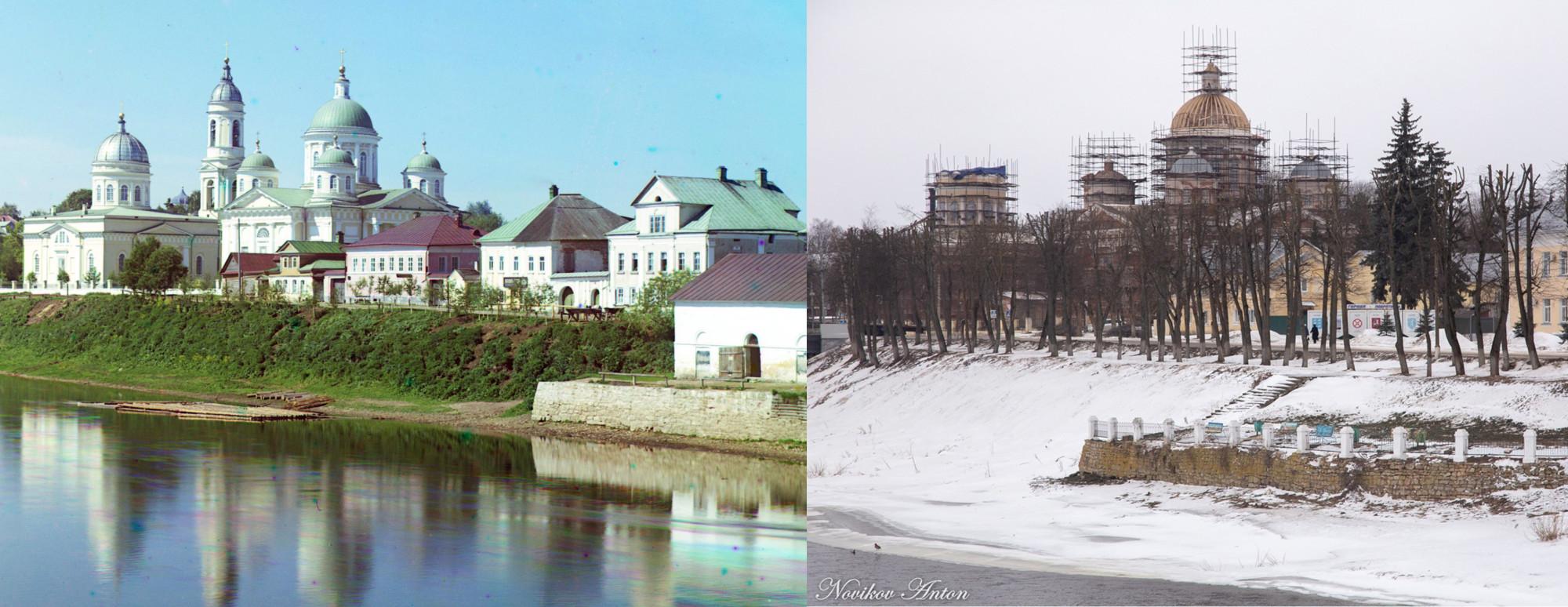 Вид на Спасо-Преображенский собор в Торжке 1910-2021
