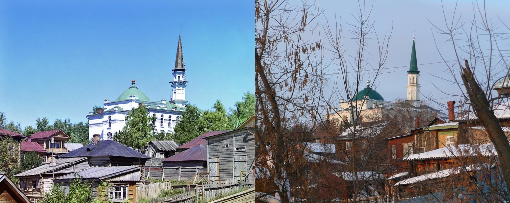 Главная мечеть в Уфе со Случевской горы. 1910 г. и 101 год спустя