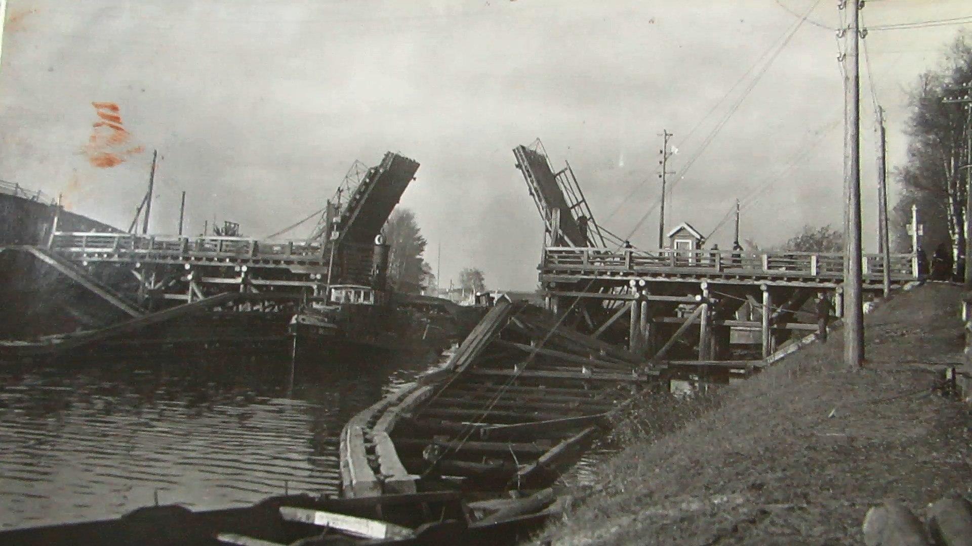 1950е Вытегра подъемный мост на перекопе (фото из архива Ивана Андреевича Фукалова)