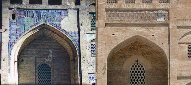 Деталь с левой стороны Медрессе Дуан-Бегги .1911 и 2010 год