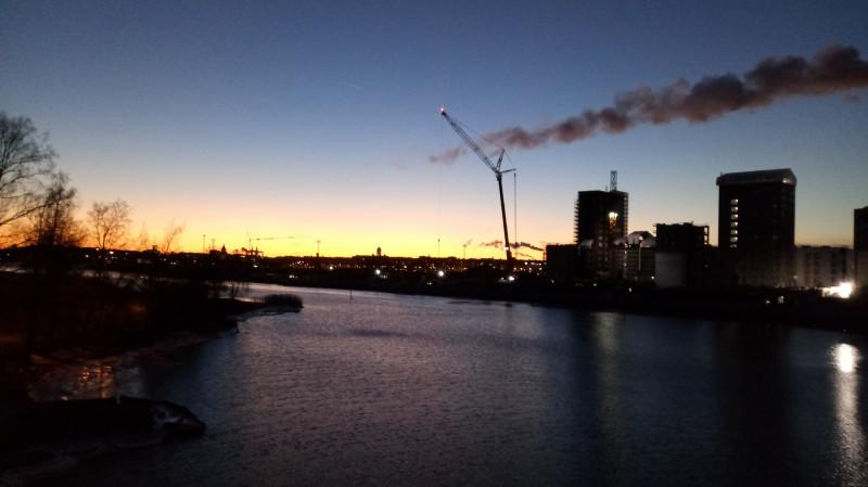 Панорама Хельсинки на закате с Кафедральным собором