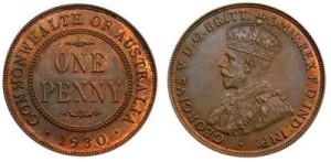 Австралийский пенни 1930 года,