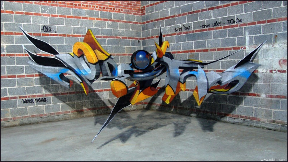 Odeith-Anamorphic-3D-Graffiti-Letters-raw-bricks-simple-chrome-sphere-baton-rouge-louisiana