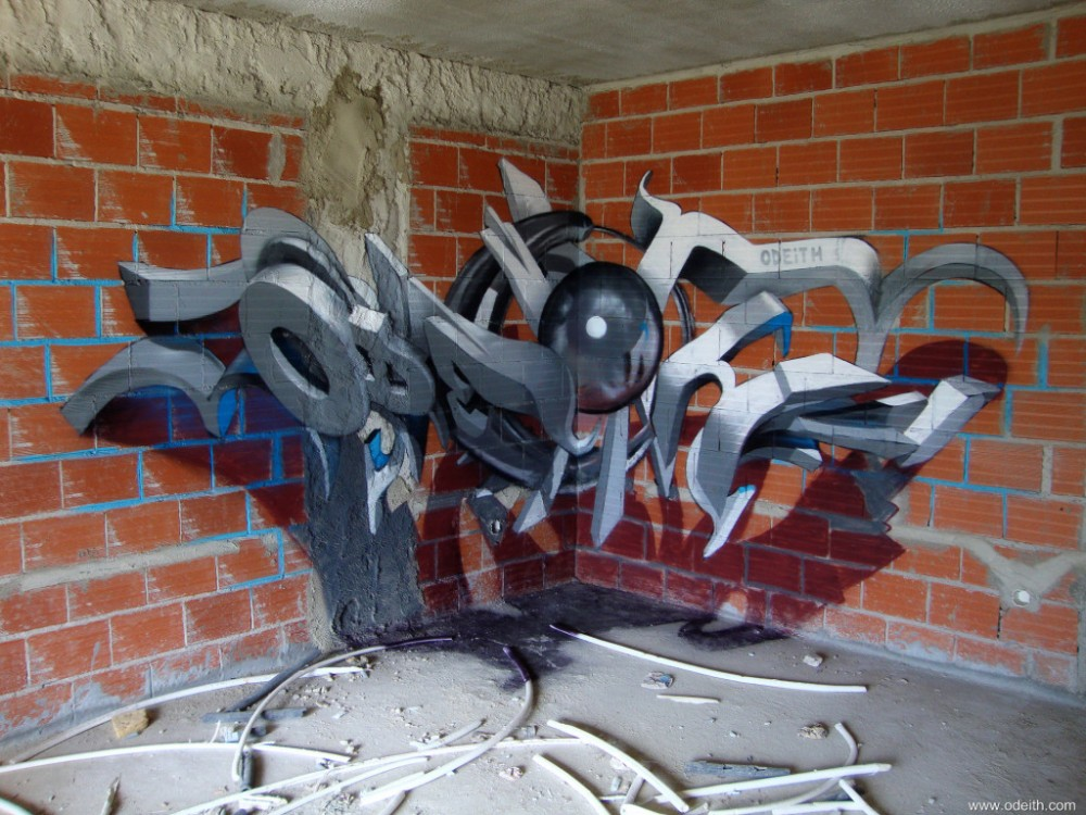 Odeith-Anamorphic-3D-Graffiti-grey-Letters-raw-orange-bricks_