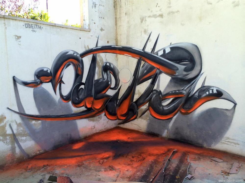Odeith-Anamorphic-3D-Graffiti-Letters-reflected-tubes-orange-fluor-light