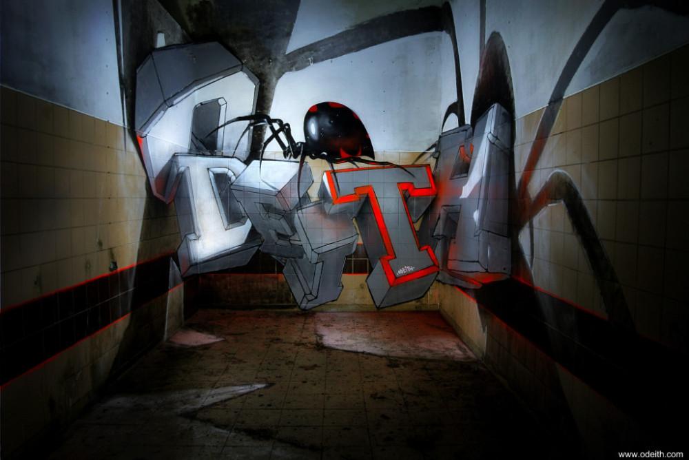 odeith-anamorphic-3d-white-block-graffiti-letters-standing-black-widow