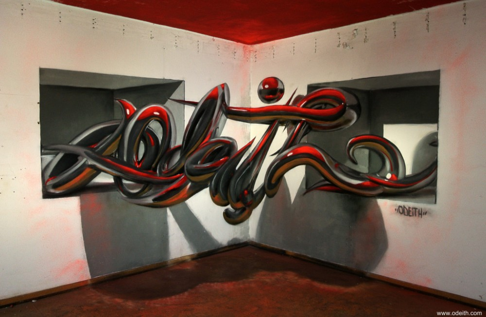Odeith-anamorphic-chrome-tubes-lettering-standing-2-holes-top-red-light
